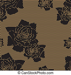 Black lace vector fabric seamless pattern - Black lace...