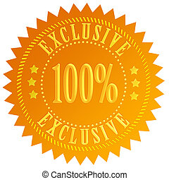 100 exclusive icon isolated on white