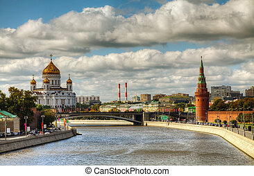 Overview of downtown Moscow with Kremlin and Temple of...