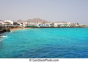 Lanzarote Playa Blanca beach in Atlantic Canary Islands