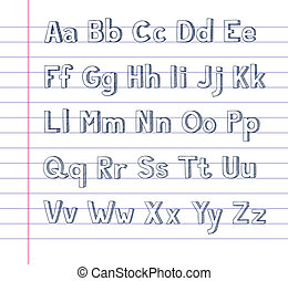 Hand drawn alphabet on lined paper - A hand drawn alphabet...