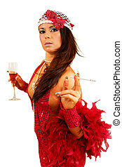 Smoking girl - Girl in the hat with glass of wine &...