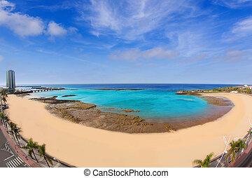 Arrecife Lanzarote Playa del Reducto beach aerial view in...