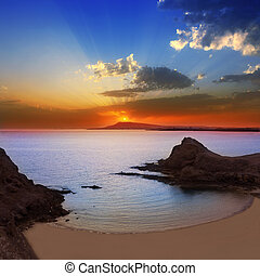 Lanzarote Playa Papagayo beach sunset in Canary islands