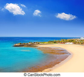 Arrecife Lanzarote Playa del Reducto beach aerial view in...