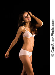 Romanian - Beautiful slender Romanian brunette in cream...