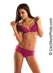 Romanian - Beautiful slender Romanian brunette in rose...