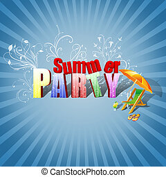 Summer Party Illustration - Colourful 3D Text, decorated...