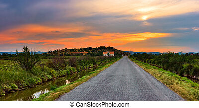 Road from Narbonne to Toulouse, France