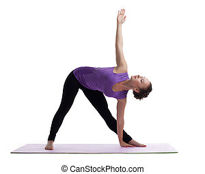 young woman posing in yoga asana on rubber mat isolated