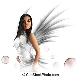 white angel - Sexy white angel with the magic bubbles...