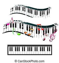 Piano keyboard and music notes