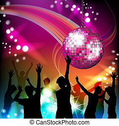 Disco ball and silhouettes - Disco ball and dancing...