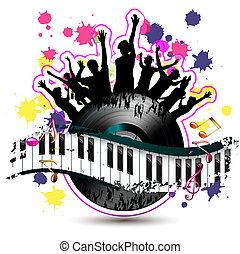 鑰匙, 鋼琴, 黑色半面畫像, 跳舞