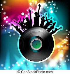 Dancing silhouettes and disco light - Vinyl record and...