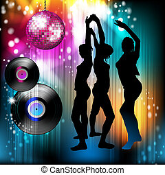 Dancing silhouettes and disco light - Disco ball and dancing...