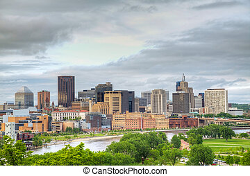 Downtown St Paul, MN and Mississippi river