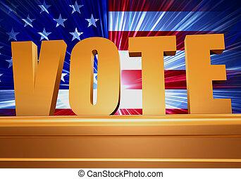 golden vote on pedestal