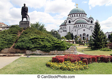 Statue and cathedrale - Statue and orthodox cathedral in...