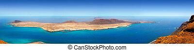 Lanzarote Mirador del rio La graciosa island panoramic in...