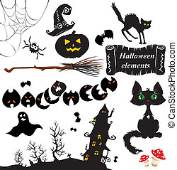 Set of Halloween elements - pumpkin, bats, ghost, cat,...