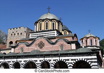 Top of church in Rila monastery, Bulgaria