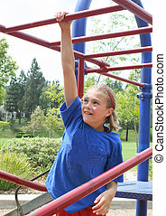 Apprehensive preteen female on bars