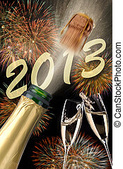 new year 2013 - popping champagne at new year 2013 with...