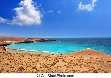 Papagayo caleta del Congrio beach in Lanzarote at Canary...