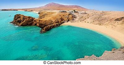 Lanzarote, Papagayo, turquoise, plage, Ajaches