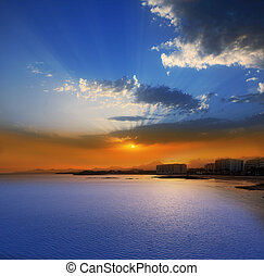 Arrecife Lanzarote sunset in Reducto Beach at Canary Islands