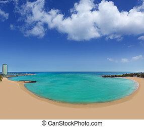 Arrecife beach Playa del Reducto in Lanzarote at Canary...
