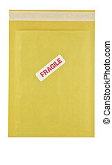 padded envelope - isolated padded envelope with fragile...