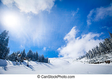 WInter Landscape - Slope on the skiing resort in...