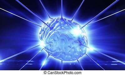 Brain rotating in dataflow Looped abstract animation HD 1080...