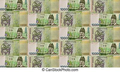 Korean Won Background - A mosaic of a 10,000 Won Korean bill...