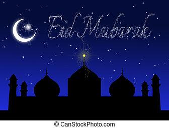 Eid Mubarak Blue Night Greeting - Eid Greeting illustration:...