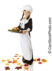 Pilgrim Serving Thanksgiving Dinner - Full-length image of...
