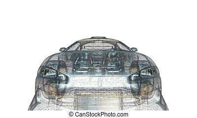 sports car - wire frame of sports car