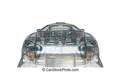 sports car - wire frame of sports car