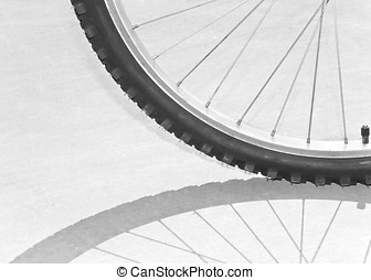 Bicycle tire, spokes and shadow abstract - The bright sun...