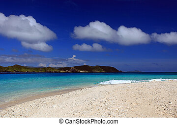 Beautiful beach in Okinawa - The cobalt blue sea and blue...