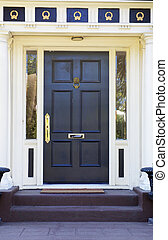 Colonial Black Door - Colonial style black door on white...