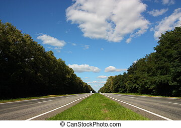Highway - Road receding into the distance and trees create a...