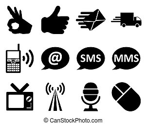 Office and communication icon set Vector illustration