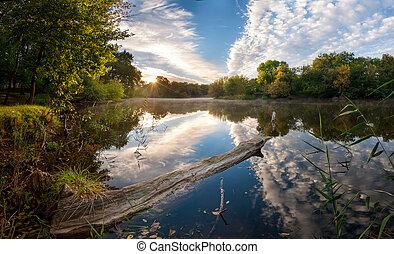 Landscape on morning river
