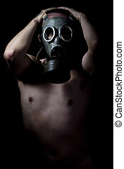 Nuclear disaster, man with gas mask