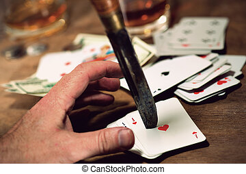 Poker game - Game of poker with five aces in the deck