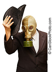 gas mask - Businessman in gas mask cowboy hat Isolated on...