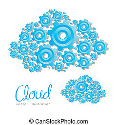 the clouds - illustration of clouds formed with blue gear,...